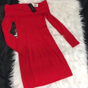 French connection off the shoulder longsleevedress